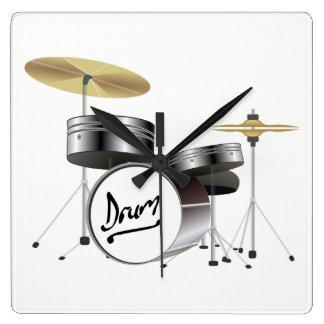 Trommel-Ausrüstung Quadratische Wanduhr