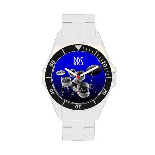 Trommel-Set-personalisierte Monogramm-Geschenk-Uhr