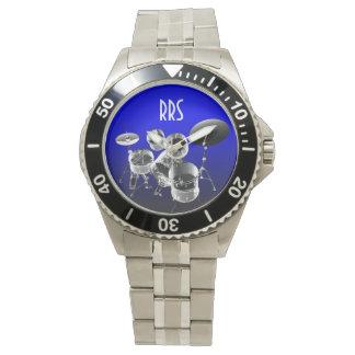 Trommel-Set-personalisierte Monogramm-Geschenk-Uhr Handuhr
