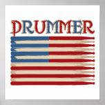 Trommel-Stock USA-Flaggen-Schlagzeuger-T-Shirts un Plakat