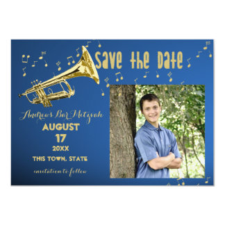 Trompete-Bar Mitzvah Save the Date 11,4 X 15,9 Cm Einladungskarte