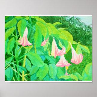 Trompete-Blumen und Zypressenbäume Watercolor Poster