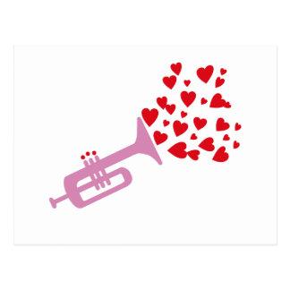 Trompete-Herzen Postkarte