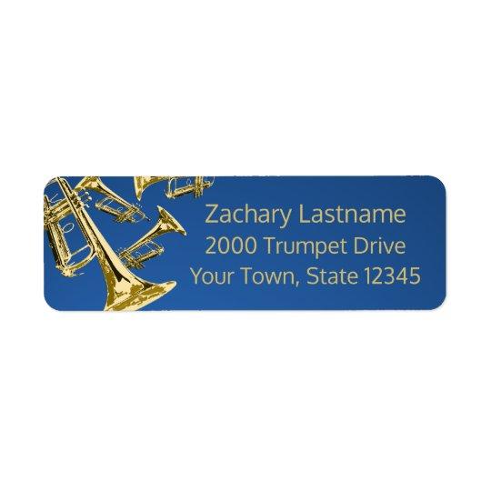 Trompete-Manie-Gold und Blau Rückversand-Adressaufkleber