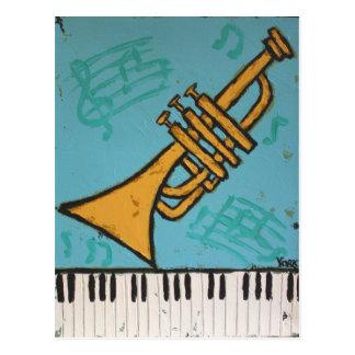 Trompete- und Klaviermusicalpostkarte Postkarten