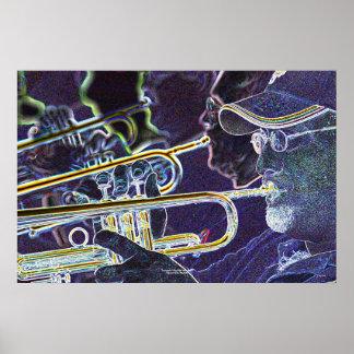 Trompeten, Meilen-hohe Jazz-Band Poster