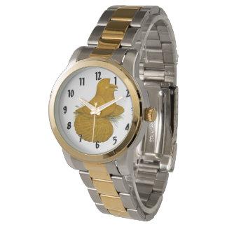 Trompeters-Tauben-Gelb-Selbst Armbanduhr