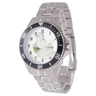 Trompeters-Tauben-Weiß Uhr