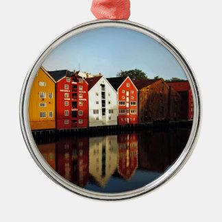 Trondheim in Norwegen Rundes Silberfarbenes Ornament
