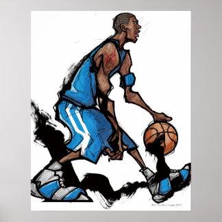 Tröpfelnder Ball des Basketball-Spielers Poster