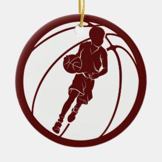 Tröpfelnder Jungen-Basketball-Spieler Keramik Ornament
