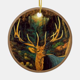 Trophäe-Stier-Elche im Herbst Rundes Keramik Ornament