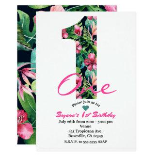 Tropische 1 eine erste 1. Geburtstags-Party 12,7 X 17,8 Cm Einladungskarte