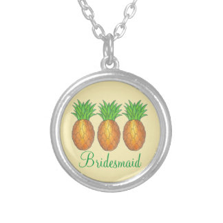 Tropische Ananas-Brautjungfern-Hochzeits-Halskette Halskette Mit Rundem Anhänger