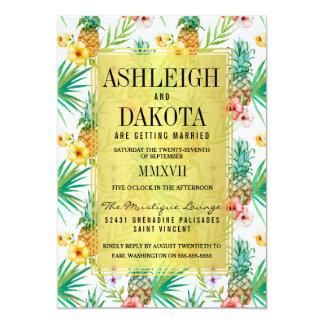 Tropische Ananas-u. Hibiskus-Hochzeit in 12,7 X 17,8 Cm Einladungskarte