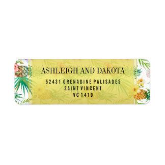 Tropische Ananas-u. Hibiskus-Hochzeit in Rücksendeetikett