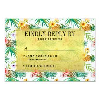 Tropische Ananas-u. Hibiskus-Hochzeit UAWG 8,9 X 12,7 Cm Einladungskarte