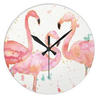 Tropische | Ansammlung der Flamingos Große Wanduhr