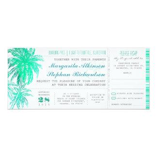 Tropische aquamarine Strandhochzeitskarten - 10,2 X 23,5 Cm Einladungskarte