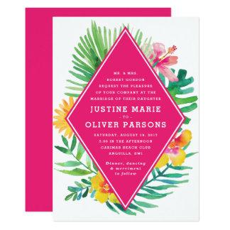 Tropische Aquarell-Pink-Hochzeits-Einladung Karte