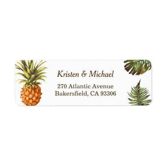 Tropische Blätter-Ananas-Dekor Luau Hochzeit Rücksendeetikett