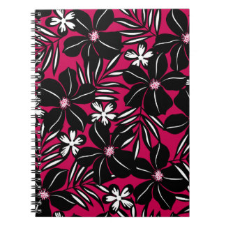 Tropische Blumen auf Rot Notizblock