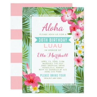 Tropische Blumen Geburtstag Luau Einladungs-| Karte