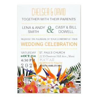Tropische Blumen-Palmblättermoderne Chic-Hochzeit 12,7 X 17,8 Cm Einladungskarte