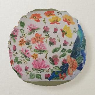 Tropische Blumen Rundes Kissen