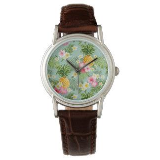 Tropische Blumen u. Ananas Armbanduhr