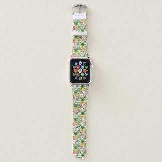 Tropische Blumen u. Ananas auf aquamarinen Apple Watch Armband