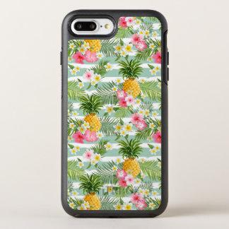 Tropische Blumen u. Ananas auf aquamarinen OtterBox Symmetry iPhone 8 Plus/7 Plus Hülle