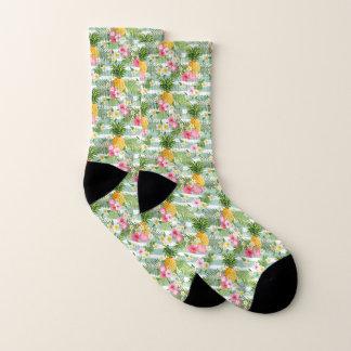 Tropische Blumen u. Ananas auf aquamarinen Socken