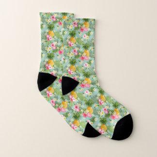 Tropische Blumen u. Ananas Socken