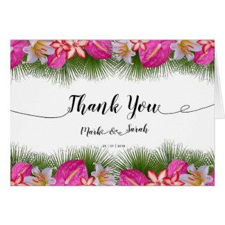 Tropische Blumen-und Blätter-Kalligraphie danken Karte