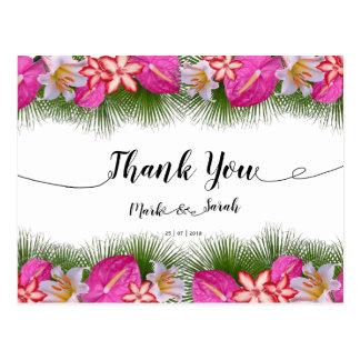 Tropische Blumen-und Blätter-Kalligraphie danken Postkarte