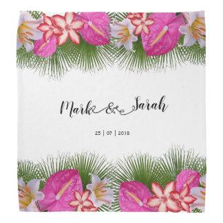 Tropische Blumen und Palmblatt-Kalligraphie Kopftuch