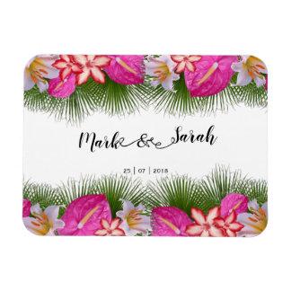 Tropische Blumen und Palmblatt-Kalligraphie Magnet