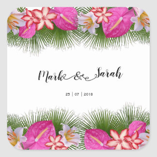 Tropische Blumen und Palmblatt-Kalligraphie Quadratischer Aufkleber