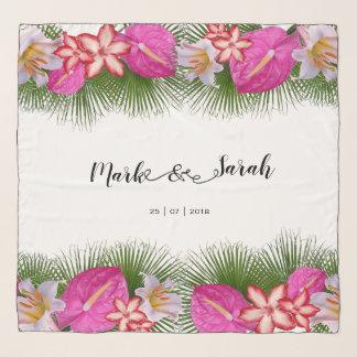 Tropische Blumen und Palmblatt-Kalligraphie Schal
