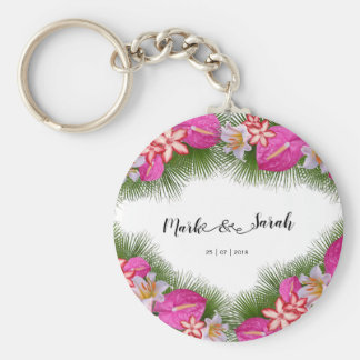 Tropische Blumen und Palmblatt-Kalligraphie Schlüsselanhänger