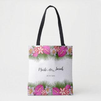 Tropische Blumen und Palmblatt-Kalligraphie Tasche