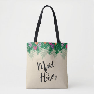 Tropische Blumen und Tasche
