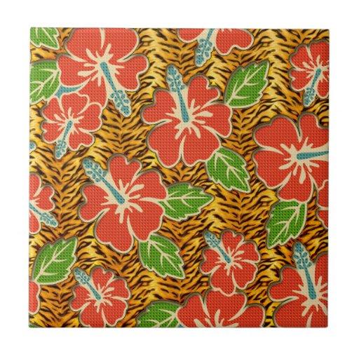 Tropische Blumen-wildes Tiger-Muster Kachel
