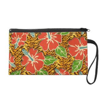 Tropische Blumen-wildes Tiger-Muster Wristlet Handtasche
