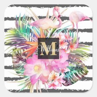 tropische BlumenBlätter- und Flamingostreifen Quadratischer Aufkleber