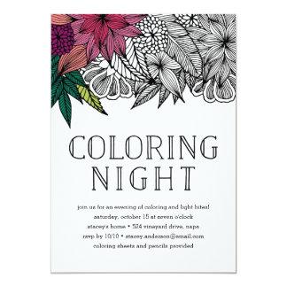 Tropische Blumenfarbton-Nachteinladung Karte