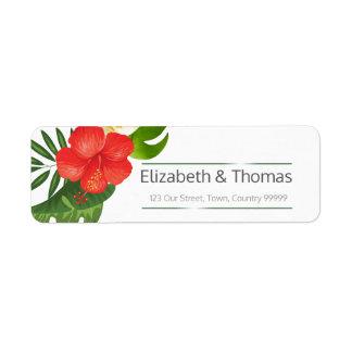 Tropische Blumenhochzeits-Rücksendeadresse ID475