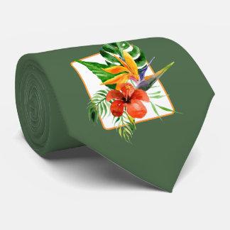 Tropische Blumenwatercolor-Hochzeits-Krawatte Individuelle Krawatten