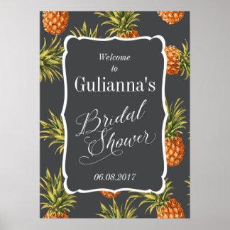 Tropische Brautparty-willkommenes Zeichen-Ananas Poster